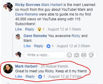 Mark Harbert commenting on my post! Way cool!