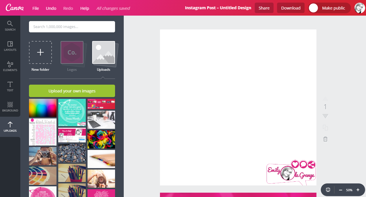 #EmilysTIP: In @Canva choose the Instagram template [SQUARE]. It works well across all social media platforms.