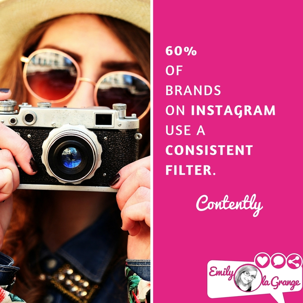 60% of brands on Instagram use a consistent filter. @Contently #EmilysTIPS