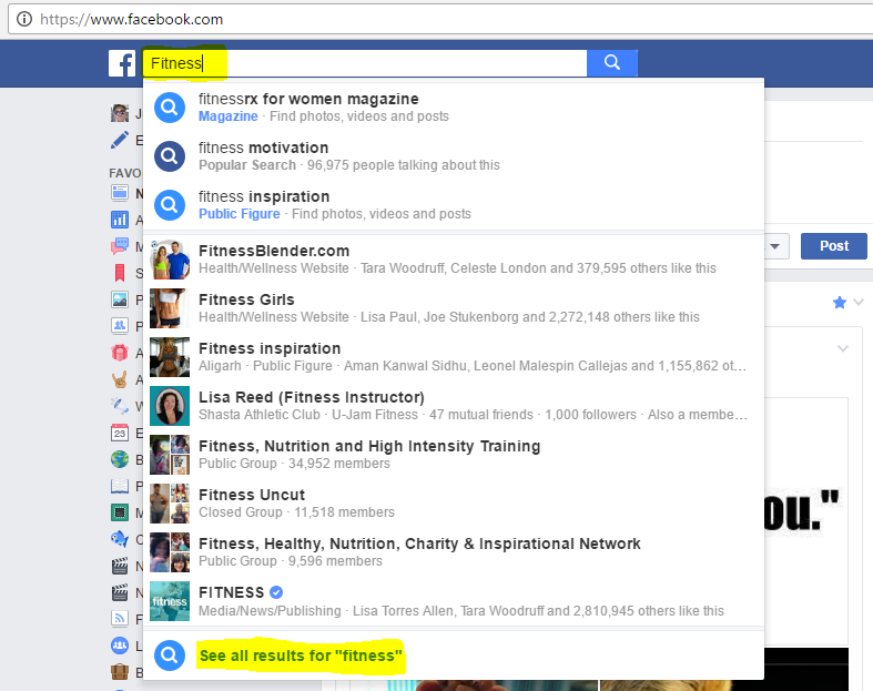 FacebookSearch- Fitness