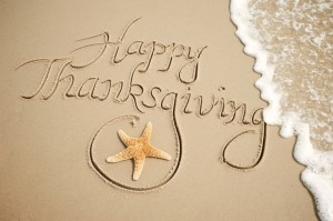 happy thanksgiving in beach sand