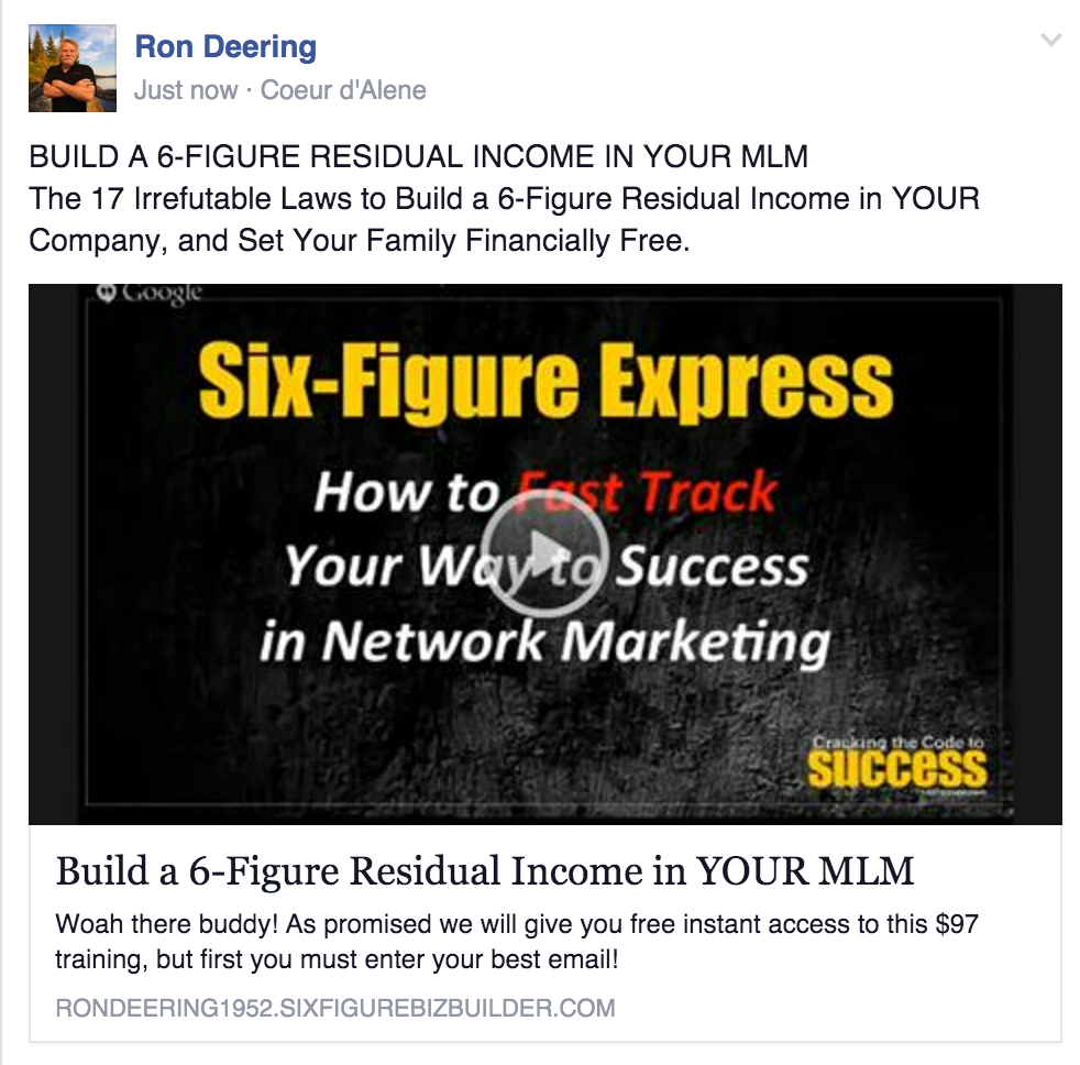 6 figure residual fb post example