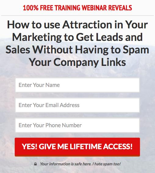 Attraction Marketing Webinar Capture Page