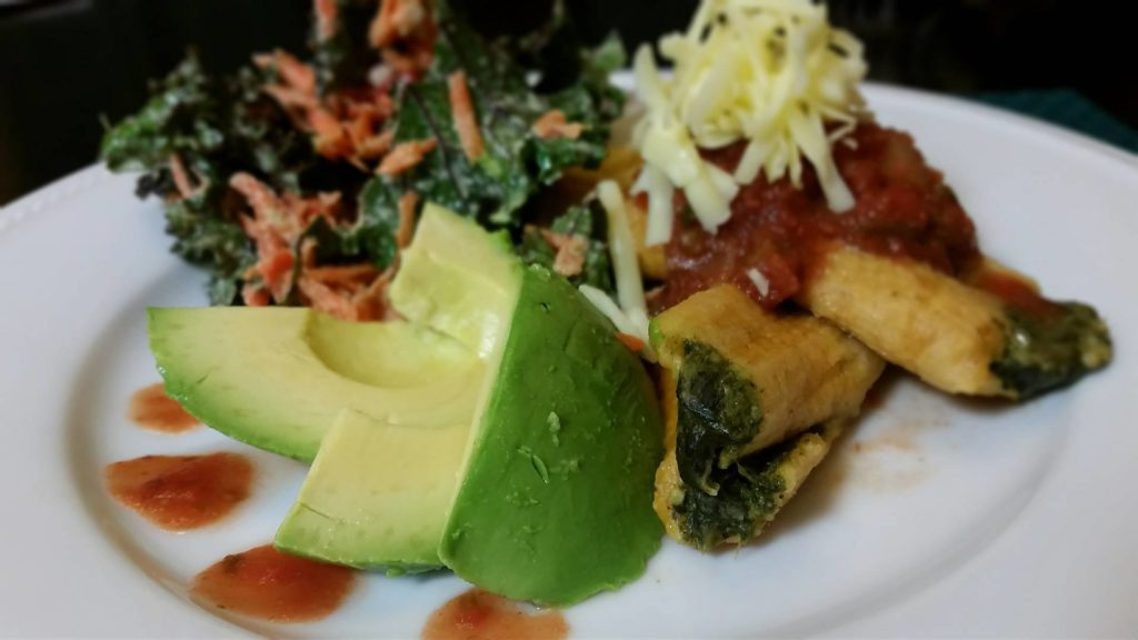 Sauce Ensalada on Spinach Tamales
