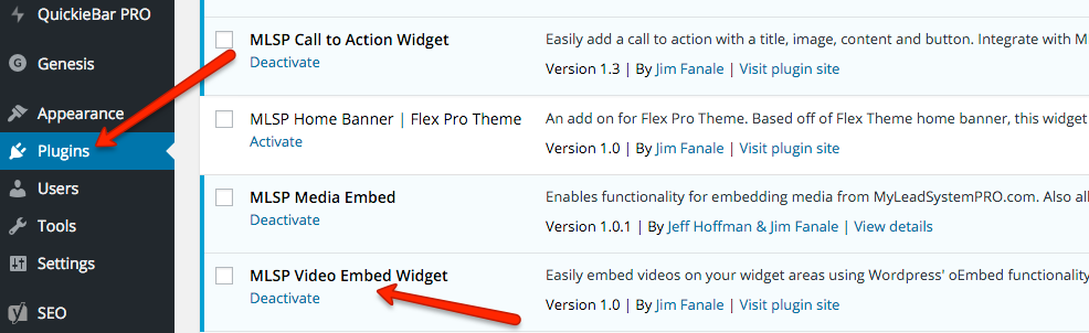 Activate the Video Embed Widget