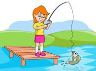 girl caught a fish at a lake clipart