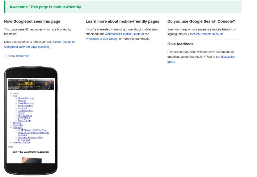 Google Needs Mobile Friendly Website