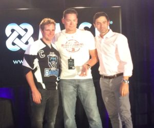 Receiving my leadership award with the founders of the company!