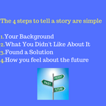 The 4 steps to tell a story are simple-1.Your Background2.What You Didn't Like About It3.Found a Solution4.How you feel about the future