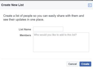 facebook create list