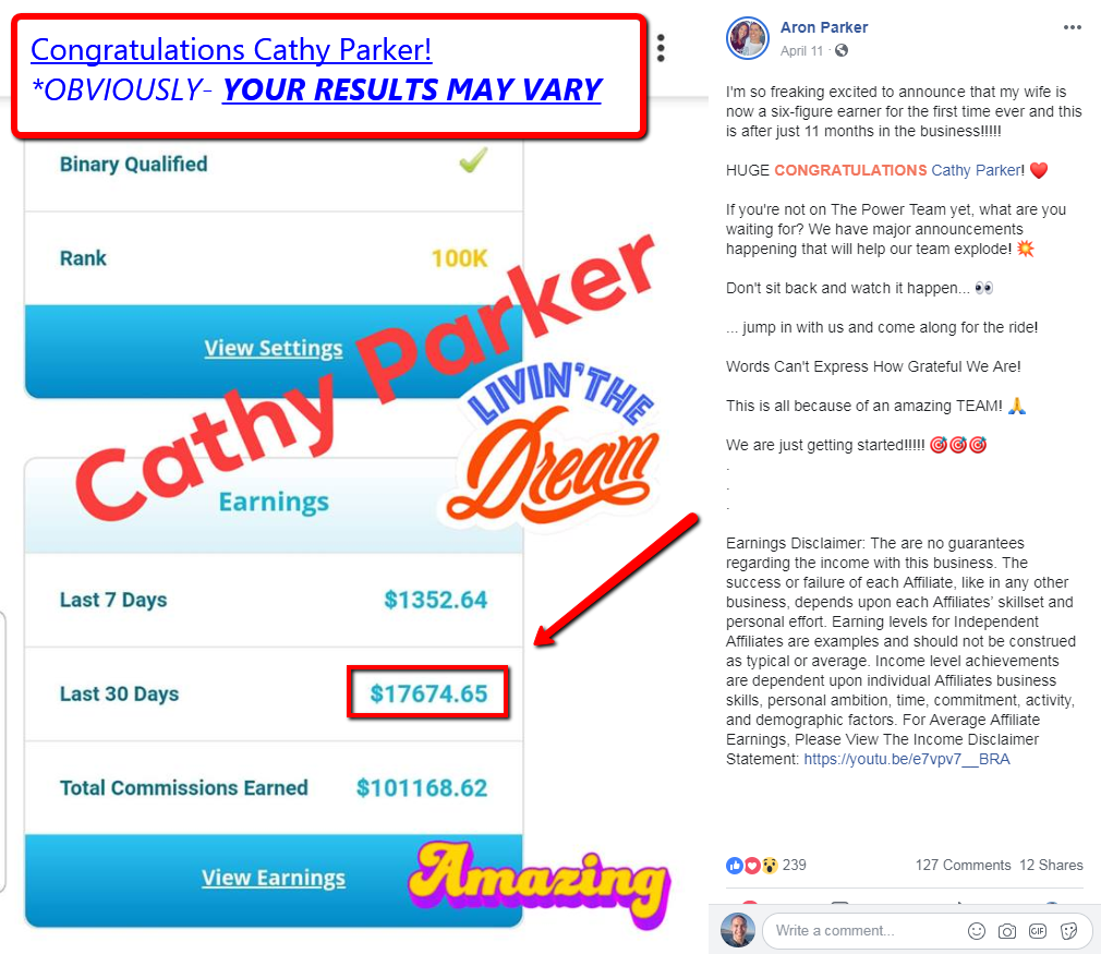 Cathy Parker Earnings and MyDailyChoice Income Disclosure (Aron Parker Facebook)