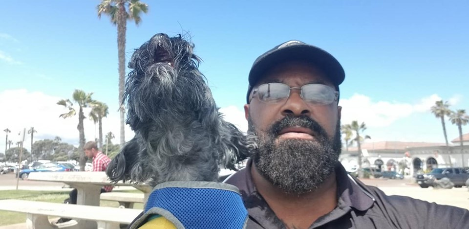 Shannon M Hamilton and Titus (Yorkie - Dog) at Mission Beach