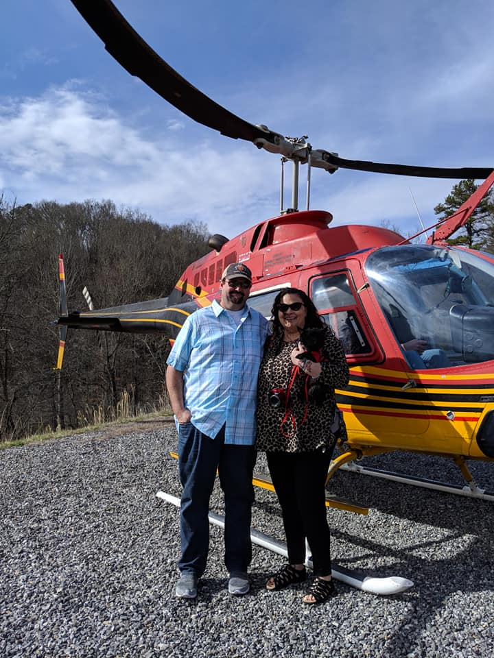 Bryan D Sellers and Jennifer Lynn Helicopter ride Pet Dog