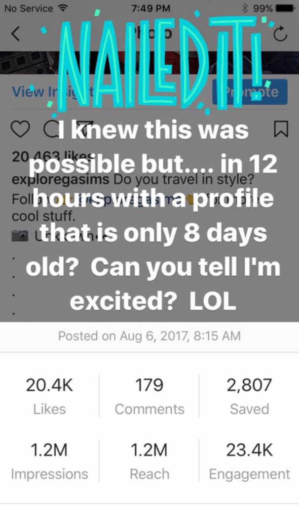 Gigi Ames Over 20,00+ likes on one post with an 8 day old account! (in 12 hours)