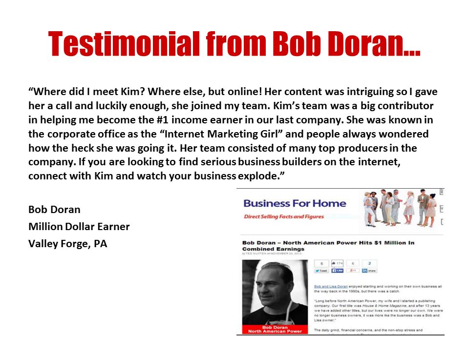 BOB testimonial