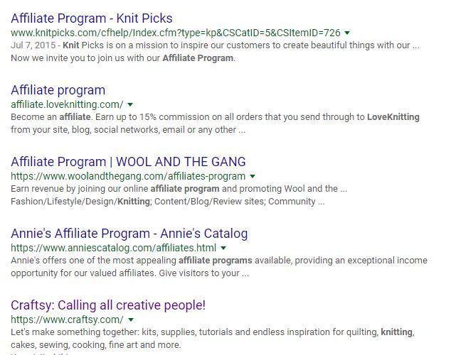 knitting affiliate programs