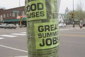 Jobs Poster on a Street Pole