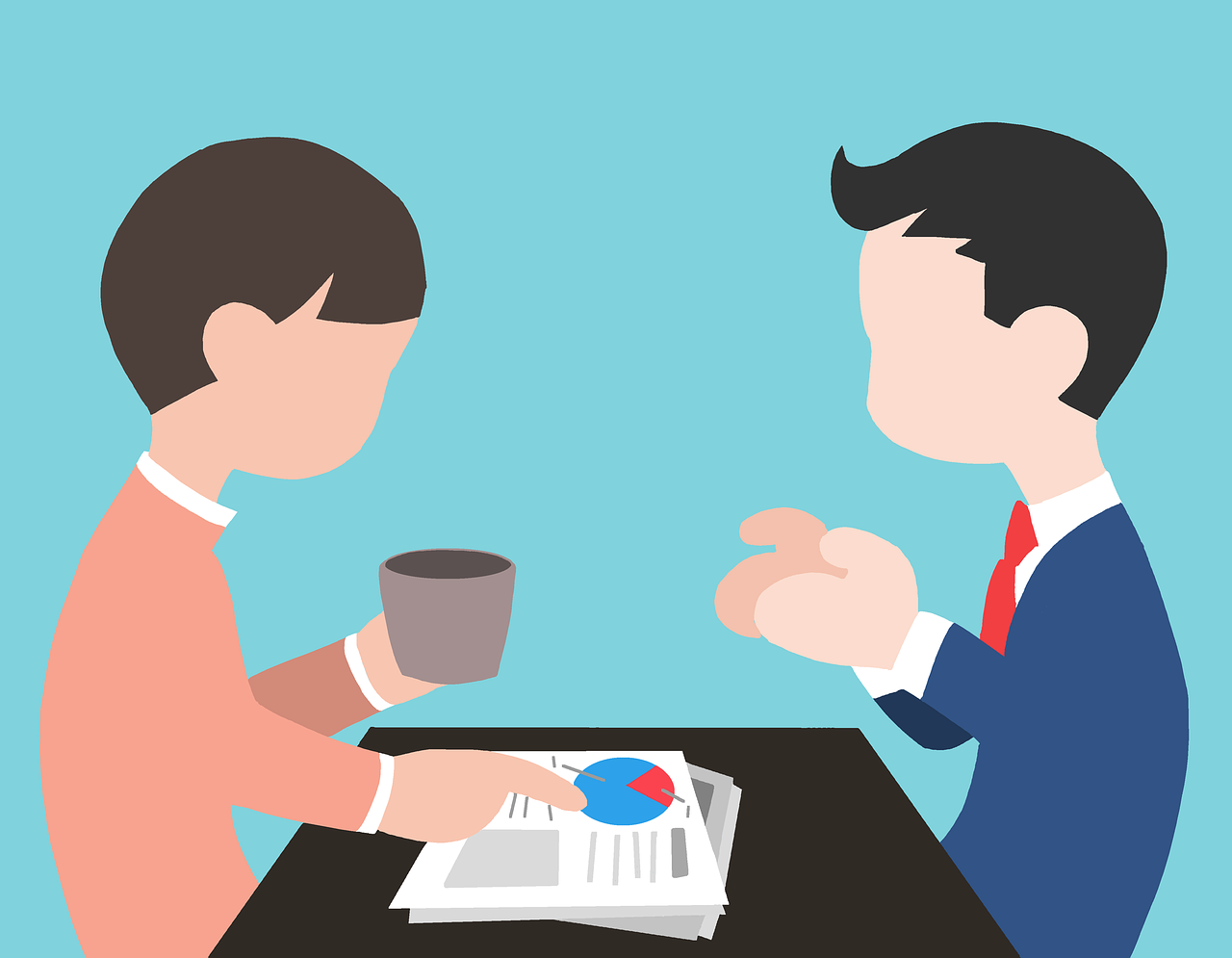 online recruiting the ideal questions to ask to get prospects two young men having coffee at a table image used in the blog post