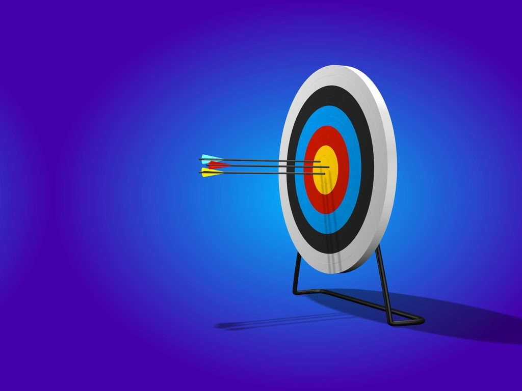 "Pic of a dartboard …used for the blog post entitled: ""ONLINE SUCCESS: How to properly set goals so you actually reach them."""