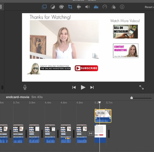 Create a YouTube outtro in iMovie