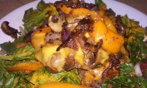 Dinner Cheeseburger with grilled veggies on salad with Seasame seeds yummy Tara Woodruff thank you